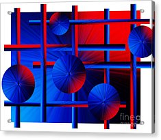 Abstract In Red/blue Acrylic Print by Trena Mara