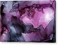 Abstract Ink Painting Plum Pink Ethereal Acrylic Print