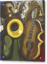 Abstract Jazz Duo Acrylic Print by Renie Britenbucher