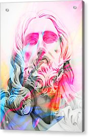 Acrylic Print featuring the painting Abstract Jesus 4 by J- J- Espinoza