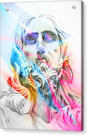 Acrylic Print featuring the painting Abstract Jesus 5 by J- J- Espinoza