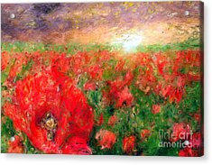 Abstract Landscape Of Red Poppies Acrylic Print