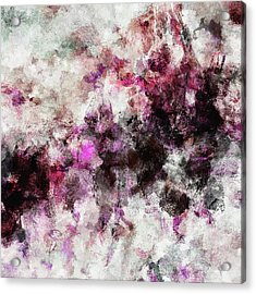 Acrylic Print featuring the painting Abstract Landscape Painting In Purple And Pink Tones by Ayse Deniz