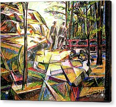 Abstract Landscape With People Acrylic Print by Stan Esson