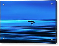 Abstract Lone Windsurfer, Widemouth, Cornwall. Acrylic Print