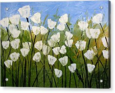 Abstract Modern Floral Art White Tulips By Amy Giacomelli Acrylic Print