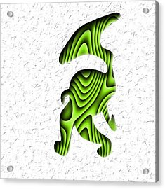 Abstract Monster Cut-out Series - Green Stroll Acrylic Print