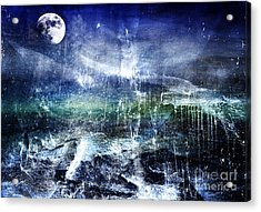 Abstract Moonlit Seascape Painting 36a Acrylic Print