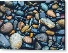 Abstract Nature Tropical Beach Pebbles 923 Blue Acrylic Print