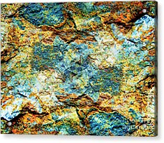 Abstract Nature Tropical Beach Rock Blue Yellow And Orange Macro Photo 472 Acrylic Print