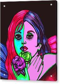 Abstract Neon Rose Fairy Acrylic Print