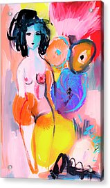 Abstract Nude With Flowers Acrylic Print by Amara Dacer