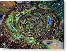 Abstract Of Peacock Feathers IIi Acrylic Print by Jim Fitzpatrick