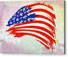 Abstract Painted American Flag Acrylic Print by Stefano Senise