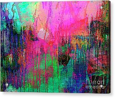 Abstract Painting 621 Pink Green Orange Blue Acrylic Print