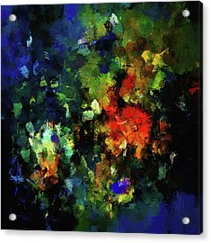 Acrylic Print featuring the painting Abstract Painting In Dark Blue Tones by Ayse Deniz