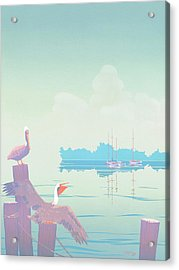 Abstract Pelicans Tropical Florida Seascape Sailboats Large Pop Art Nouveau 1980s Stylized Painting Acrylic Print by Walt Curlee