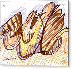 Abstract Pen Drawing Nine Acrylic Print