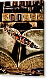 Abstract Pen On Book Acrylic Print by Garry Gay