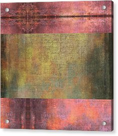 Abstract Pink And Green Metallic Rectangle Acrylic Print by Brandi Fitzgerald