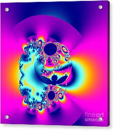 Abstract Pink And Turquoise Fractal Globe Acrylic Print