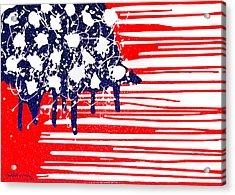 Abstract Plastic Wrapped American Flag Acrylic Print