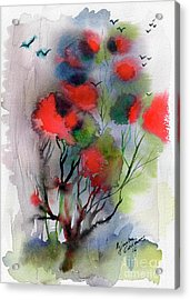 Abstract Poinciana Tree Watercolor Acrylic Print