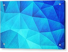 Abstract Polygon Multi Color Cubizm Painting In Ice Blue Acrylic Print