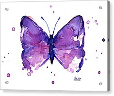 Abstract Purple Butterfly Watercolor Acrylic Print by Olga Shvartsur