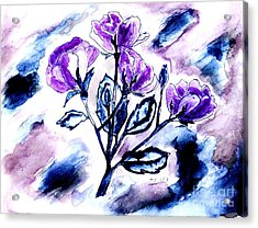 Abstract Purple Roses Acrylic Print