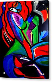 Abstract  Rain Bow Girl Acrylic Print by Nora Shepley