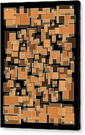Acrylic Print featuring the mixed media Abstract Rectangles Nightfall Color Scheme by Frank Tschakert