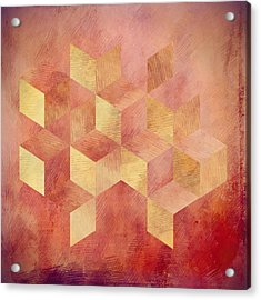 Abstract Red And Gold Geometric Cubes Acrylic Print by Brandi Fitzgerald