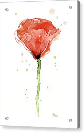 Abstract Red Poppy Watercolor Acrylic Print