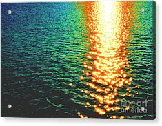 Abstract Reflections Digital Painting #5 - Delaware River Series Acrylic Print