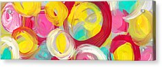 Abstract Rose Garden In The Morning Light Panoramic Acrylic Print by Amy Vangsgard