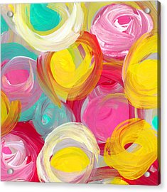 Abstract Rose Garden In The Morning Light Square 1 Acrylic Print by Amy Vangsgard