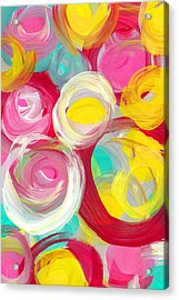Abstract Rose Garden In The Morning Light Vertical 2 Acrylic Print by Amy Vangsgard