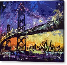 Abstract San Francisco Oakland Bay Bridge At Night Acrylic Print