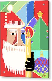 Abstract Santa Acrylic Print by Arline Wagner