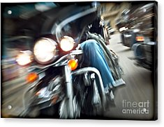 Abstract Slow Motion Bikers Riding Motorbikes Acrylic Print by Anna Om