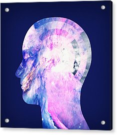 Abstract Space Universe  Galaxy Face Silhouette  Acrylic Print