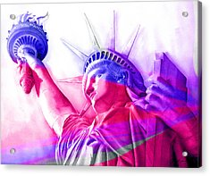 Acrylic Print featuring the painting Abstract Statue Of Liberty 7 by J- J- Espinoza