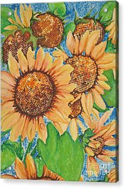 Acrylic Print featuring the painting Abstract Sunflowers by Chrisann Ellis