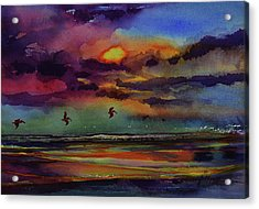 Abstract Beach Sunrise With Pelicans 7-10-17 Acrylic Print