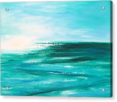 Abstract Sunset In Blue And Green 2 Acrylic Print by Gina De Gorna