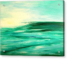 Abstract Sunset In Blue And Green Acrylic Print by Gina De Gorna