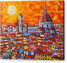 Abstract Sunset Over Duomo In Florence Italy Acrylic Print