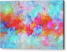 Acrylic Print featuring the painting Abstract Sunset Painting With Colorful Clouds Over The Ocean by Ayse Deniz