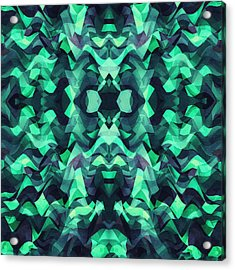 Abstract Surreal Chaos Theory In Modern Poison Turquoise Green Acrylic Print